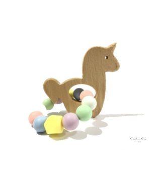 Mordedor figura madera Unicornio multicolor