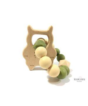 Mordedor figura madera búho pastel-pistacho