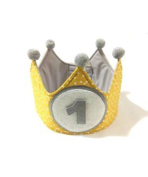 Corona cumpleaños personalizada amarillo-gris
