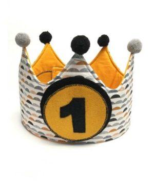 Corona cumpleaños personalizada mostaza