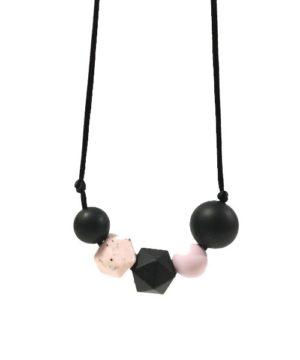 collar lactancia negro-rosa picado