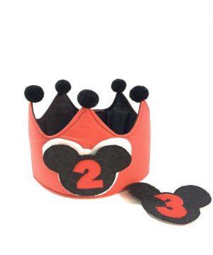 corona cumpleños mickey roja