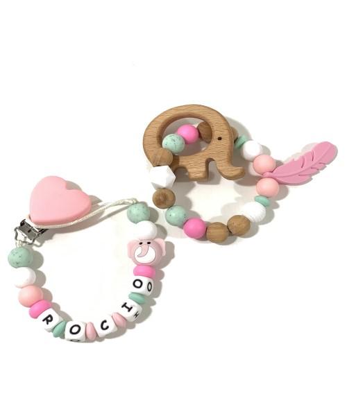 conjunto mordedor chupetero elefante pinza corazon