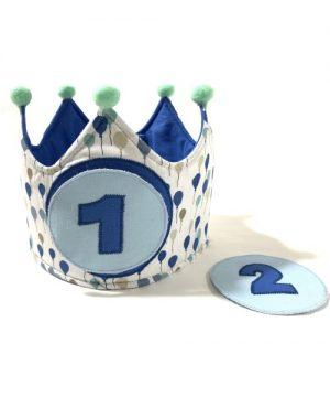 corona cumpleaños globos azul