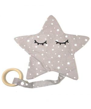 Doudou estrella gris