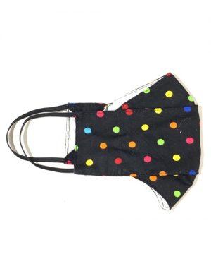 Mascarilla tela negra topos multicolor