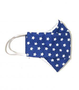 Mascarilla tela azul marino estrellas