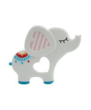 Mordedor silicona alimentaria Elefante blanco
